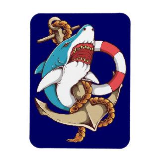 Shark With Anchor Tattoo Style Art Rectangular Photo Magnet
