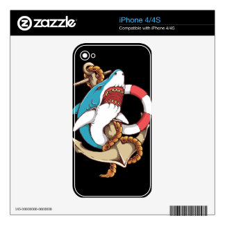 Shark With Anchor Tattoo Style Art Skins For The iPhone 4