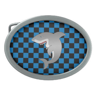 Shark with blue checkers oval belt buckle