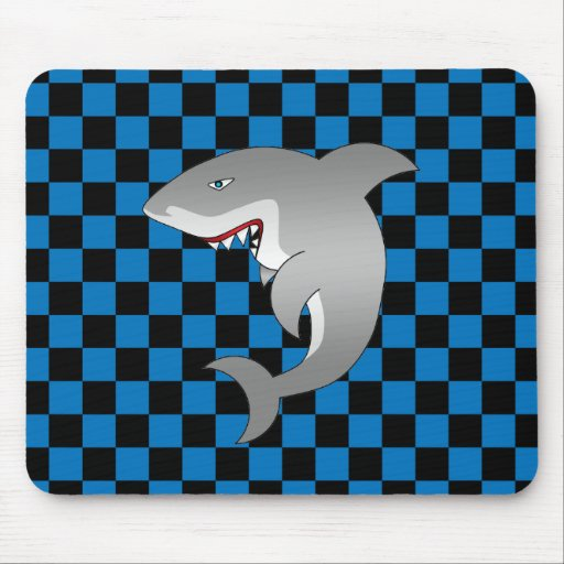 Shark with blue checkers mouse pad