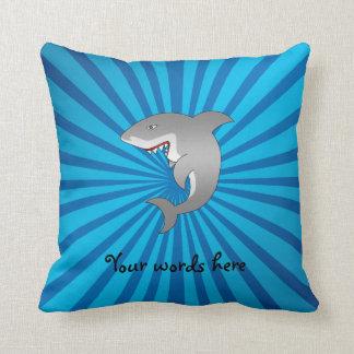 Shark with blue sunburst pillow