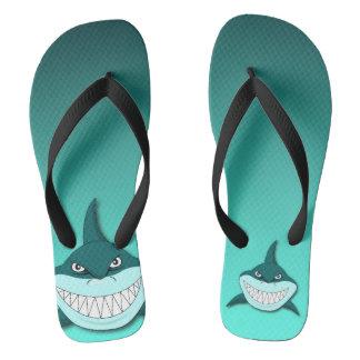 Shark with gradient background flip flops