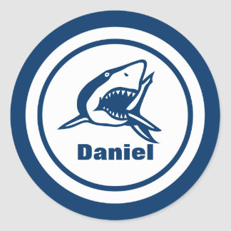 Shark with Name Classic Round Sticker