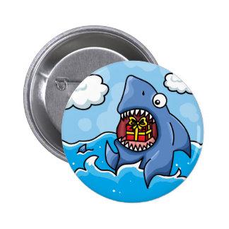 Shark with Present 2 Inch Round Button