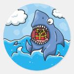 Shark with Present Classic Round Sticker