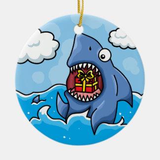 Shark with Present Christmas Tree Ornament