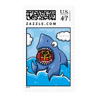 Shark with Present Postage