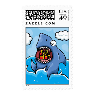 Shark with Present Stamps