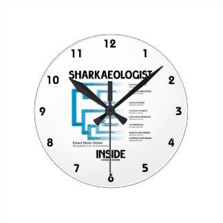 Sharkaeologist Inside (Shark Order Lineage) Round Wallclocks