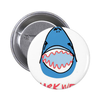 Sharkbite for Shark Week August 10-17 2014 in Blue Pinback Buttons