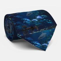 Sharks and School of Fish in Blue Ocean Necktie
