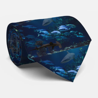 Sharks and School of Fish in Blue Ocean Necktie