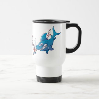 Sharks are Furious, Stop Finning! 15 Oz Stainless Steel Travel Mug