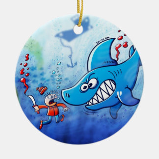 Sharks are Furious, Stop Finning! Double-Sided Ceramic Round Christmas Ornament