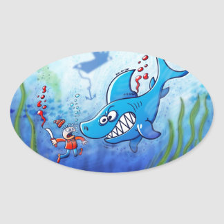 Sharks are Furious, Stop Finning! Oval Sticker