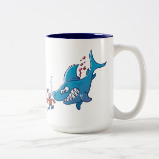 Sharks are Furious, Stop Finning! Two-Tone Coffee Mug