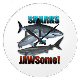 Sharks are JAWSome! Large Clock