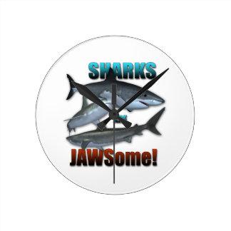 Sharks are JAWSome! Round Clock