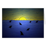 Sharks at Sunset Greeting Cards