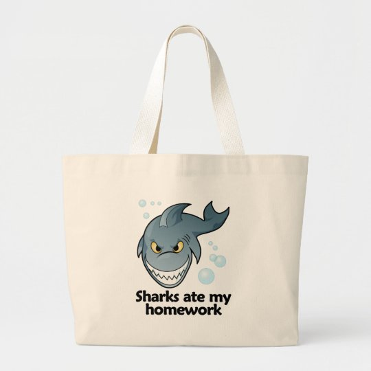 Sharks ate my homework large tote bag
