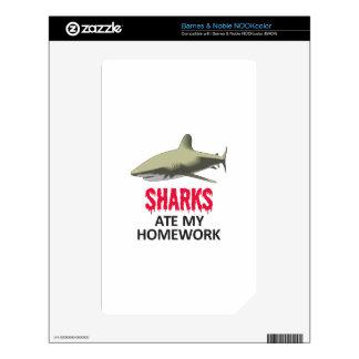 SHARKS ATE MY HOMEWORK SKIN FOR NOOK COLOR