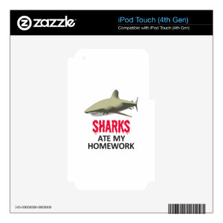 SHARKS ATE MY HOMEWORK SKIN FOR iPod TOUCH 4G