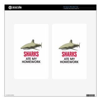 SHARKS ATE MY HOMEWORK KINDLE FIRE DECALS