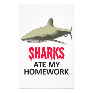 SHARKS ATE MY HOMEWORK PERSONALIZED STATIONERY
