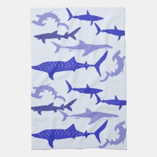 Sharks Blue Hand Towels