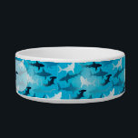 """sharks! bowl<br><div class=""""desc"""">Ceramic pet bowl with sharks and customizable with your pet&#39;s name.</div>"""