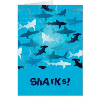 sharks! greeting card