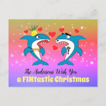 Sharks Christmas Unique Personalized Holiday Postcard