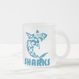 Sharks Contemporary Swirl Design Frosted Mug