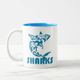 Sharks Contemporary Swirl Design Two-Tone Coffee Mug