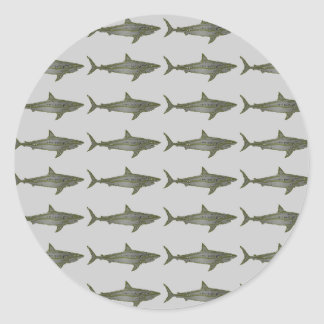 Sharks cool pattern classic round sticker