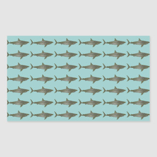 Sharks cool pattern rectangular sticker