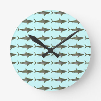 Sharks cool pattern round clock