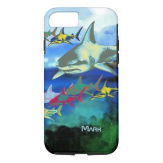 sharks digital illustration iPhone 8/7 case