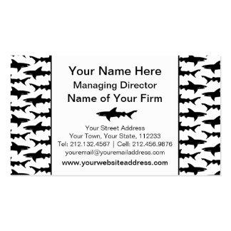 Sharks - Elegant Black and White Shark Pattern Business Card Template