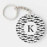 Sharks - Elegant Black and White Shark Pattern Double-Sided Round Acrylic Keychain