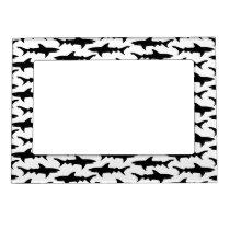 Sharks - Elegant Black and White Shark Pattern Magnetic Frame