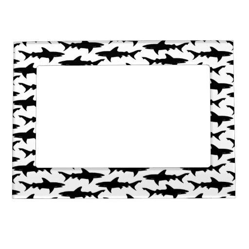 Sharks - Elegant Black and White Shark Pattern Frame Magnets