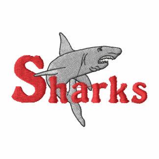 Sharks Embroidered Hooded Sweatshirts