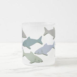 SHARKS! FROSTED GLASS COFFEE MUG