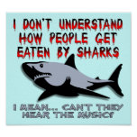Sharks - Hear The Music Funny Poster Sign