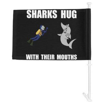 Beach Themed Sharks Hug Car Flag