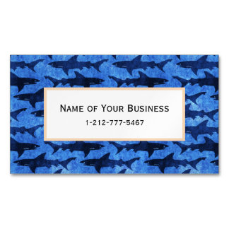 Sharks in the Deep Blue Sea Magnetic Business Card