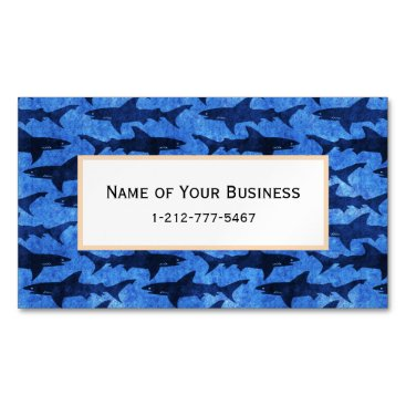 Beach Themed Sharks in the Deep Blue Sea Magnetic Business Card