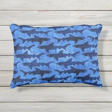 Beach Themed Sharks in the Deep Blue Sea Outdoor Pillow