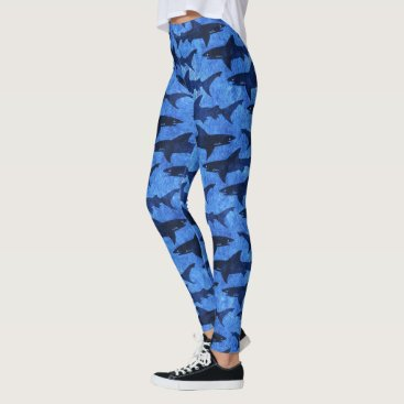 Beach Themed Sharks in the Deep Blue Sea Scuba Diver Girl Leggings
